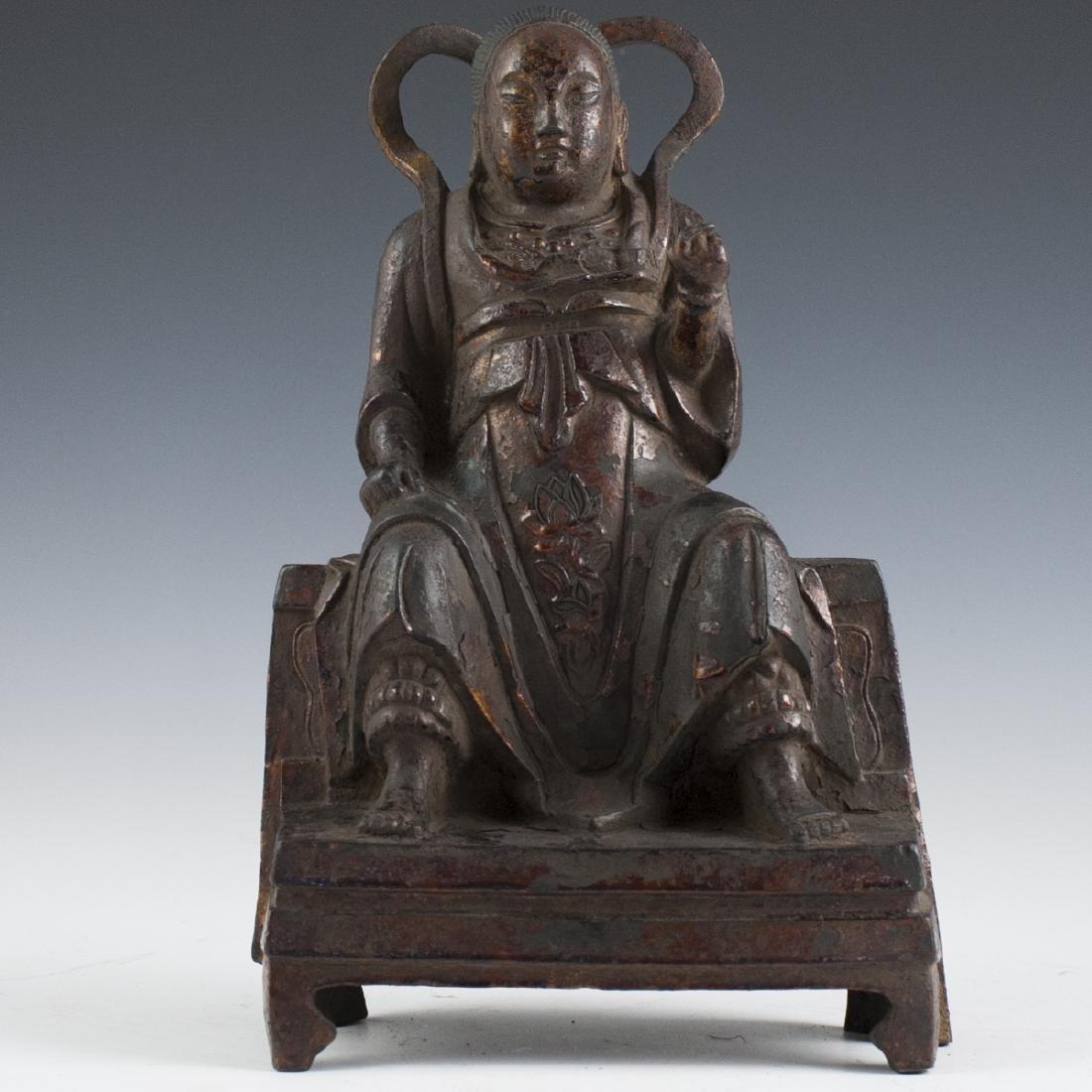 Antique Chinese Gilt Bronze Zhenwu