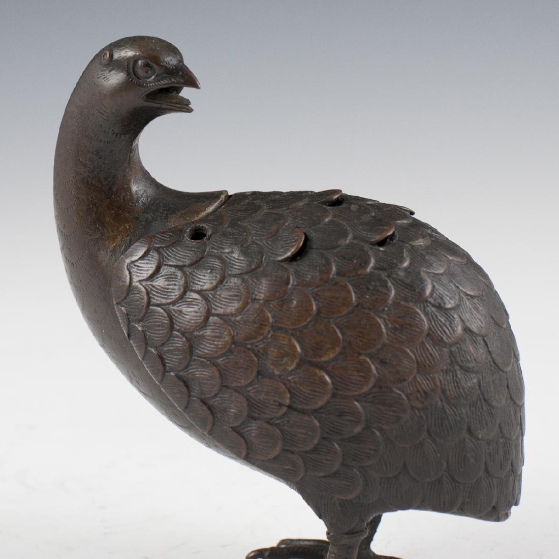 Antique Japanese Bronze Quail Censer