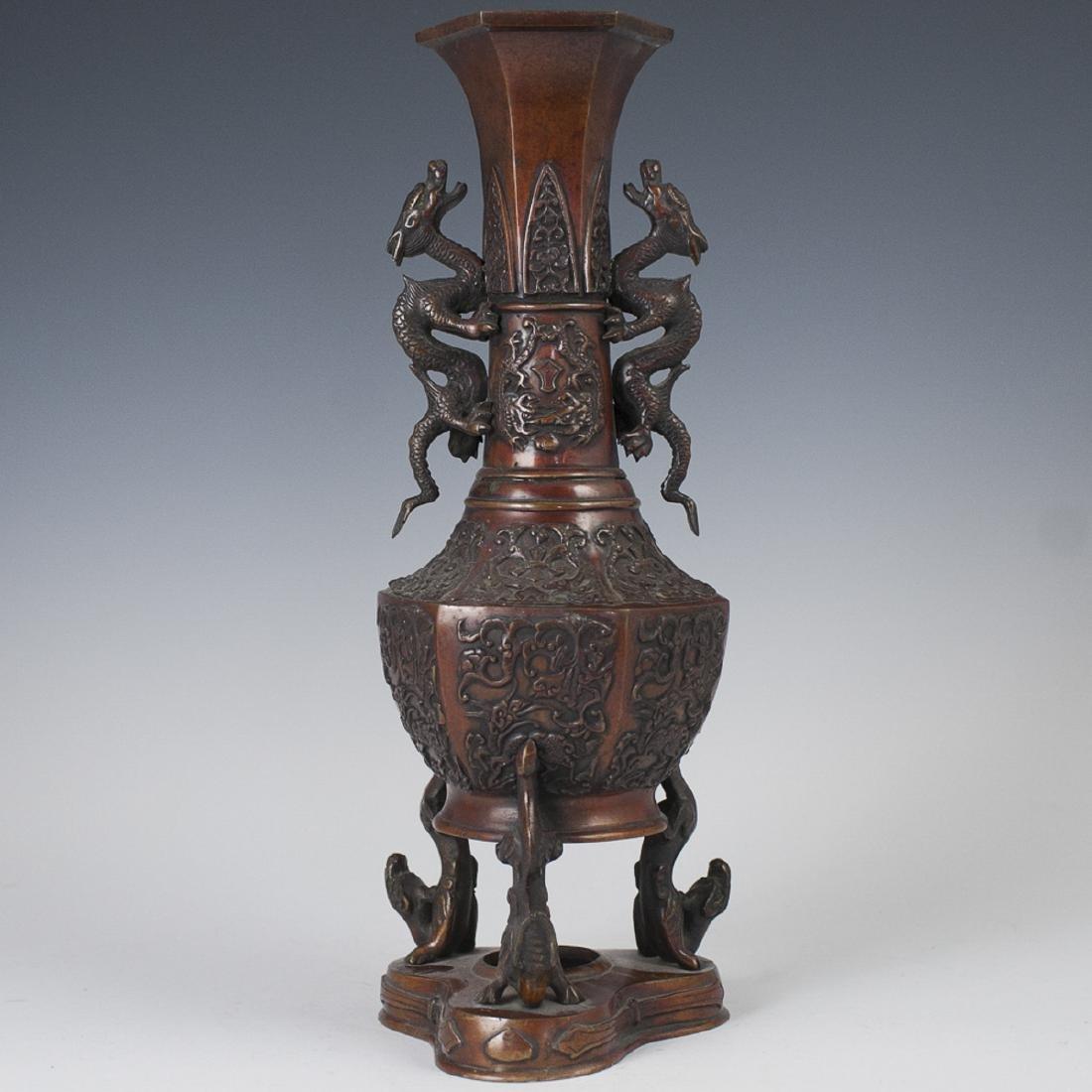 Japanese Meiji Bronze Footed Vase