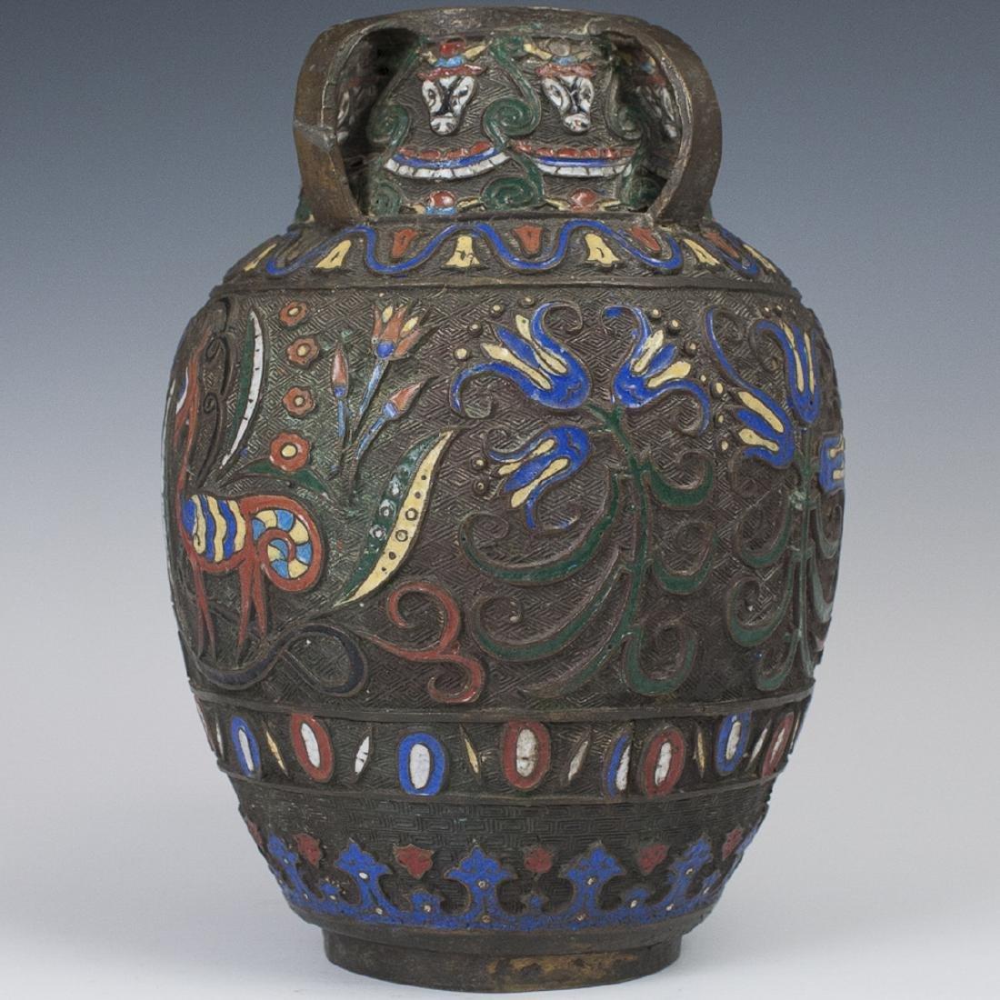 Japanese Bronze Stamped Enameled Vase