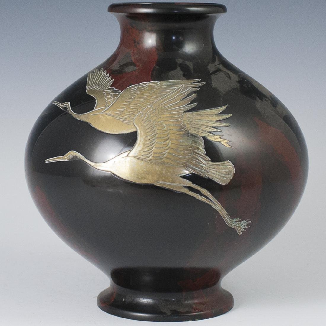 Japanese Mixed Metal Stamped Bronze Vase