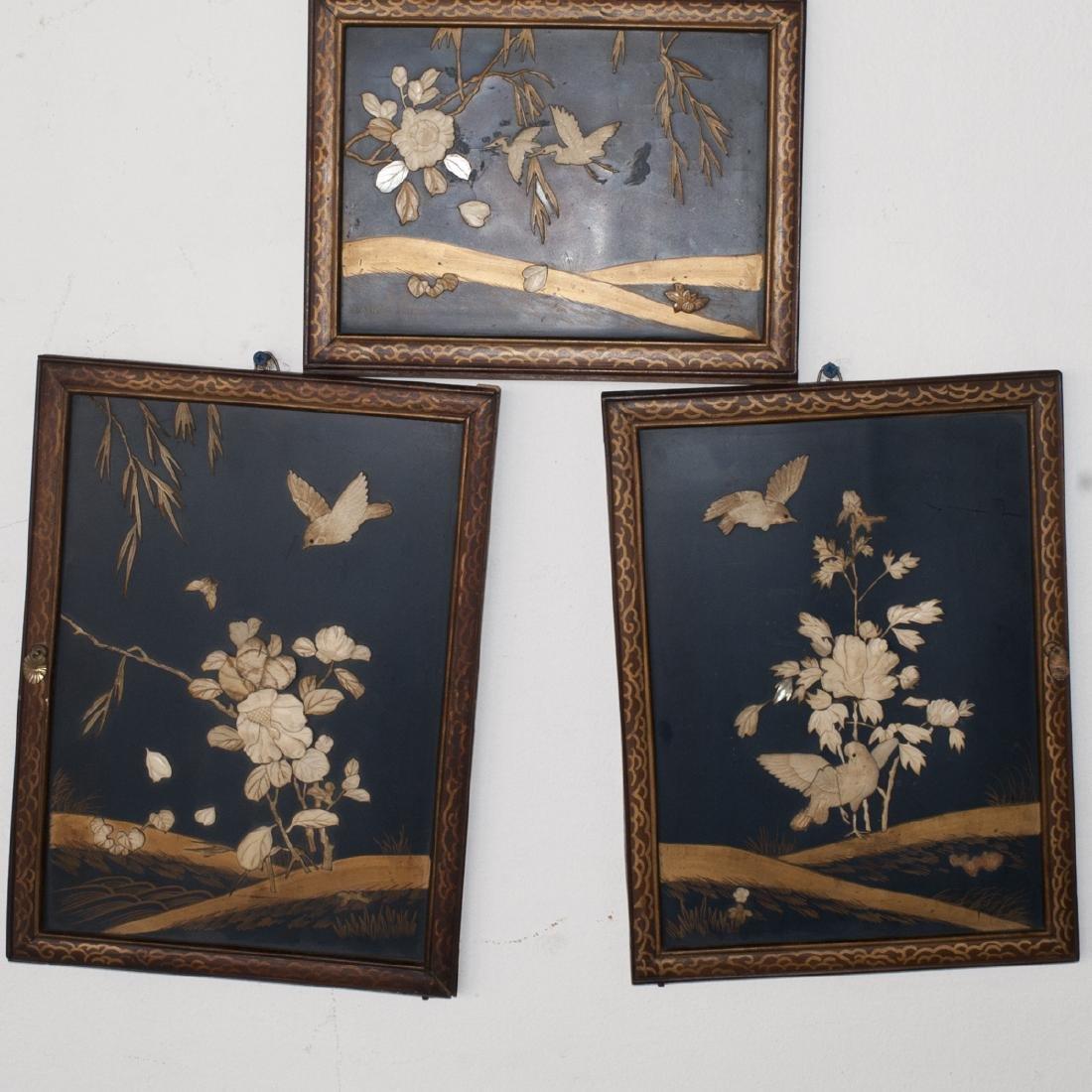 Japanese Lacquered Bone Panels