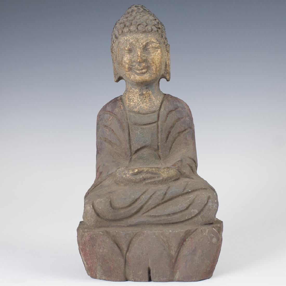 Gilded Stone Tibetan Buddha Sculpture