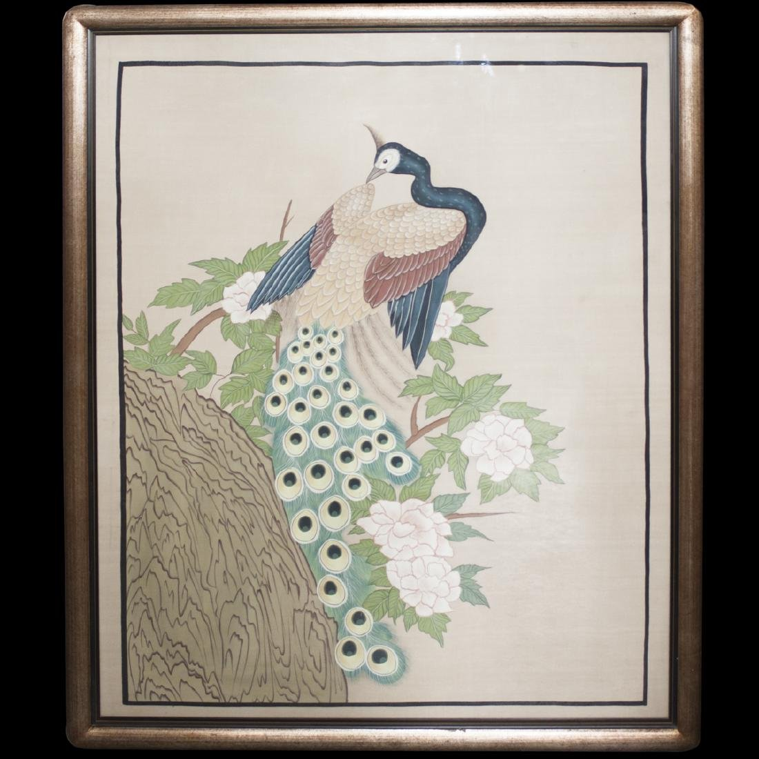 Large Antique Chinese Watercolor on Silk