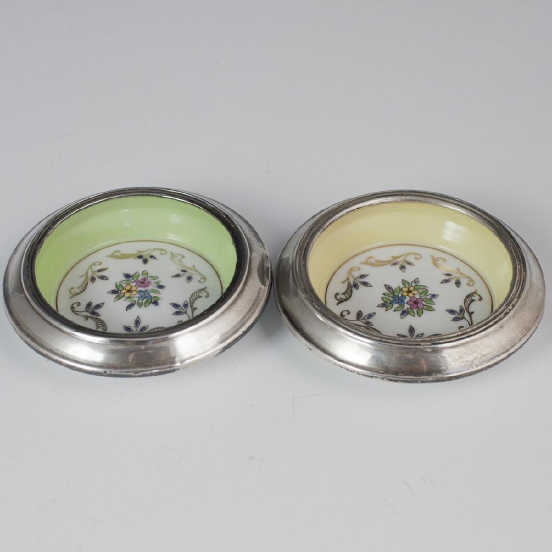 Hunt Hallmark Sterling Enameled Porcelain Coasters