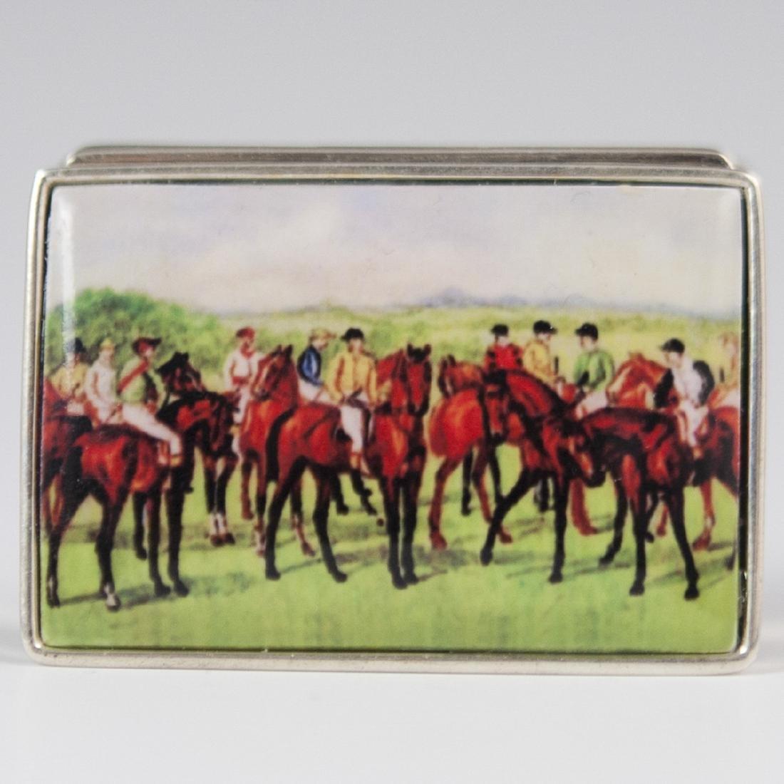 English Enameled Sterling Pill Box