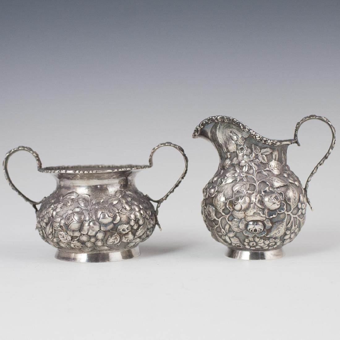Sterling Repousse Creamer & Cellar
