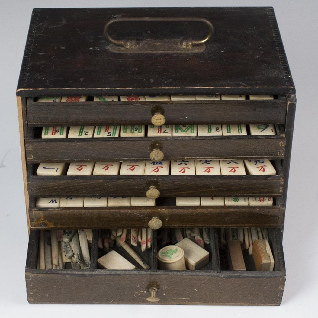 Antique Chinese Bone Mahjong Set