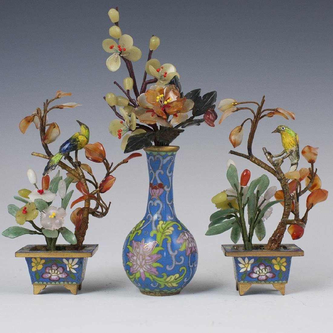 Chinese Cloisonne Enameled Miniature Trees