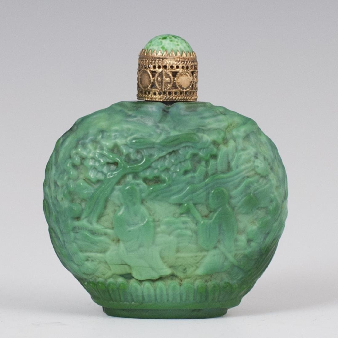 Chinese Malachite Glass Snuff Bottle
