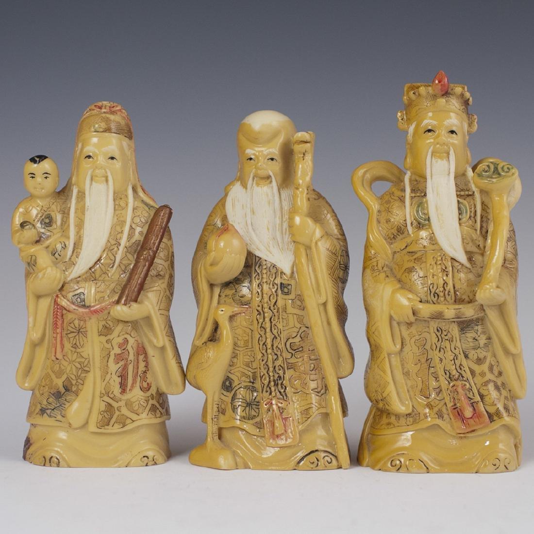 Carved Japanese Bone Sanxing Figurines
