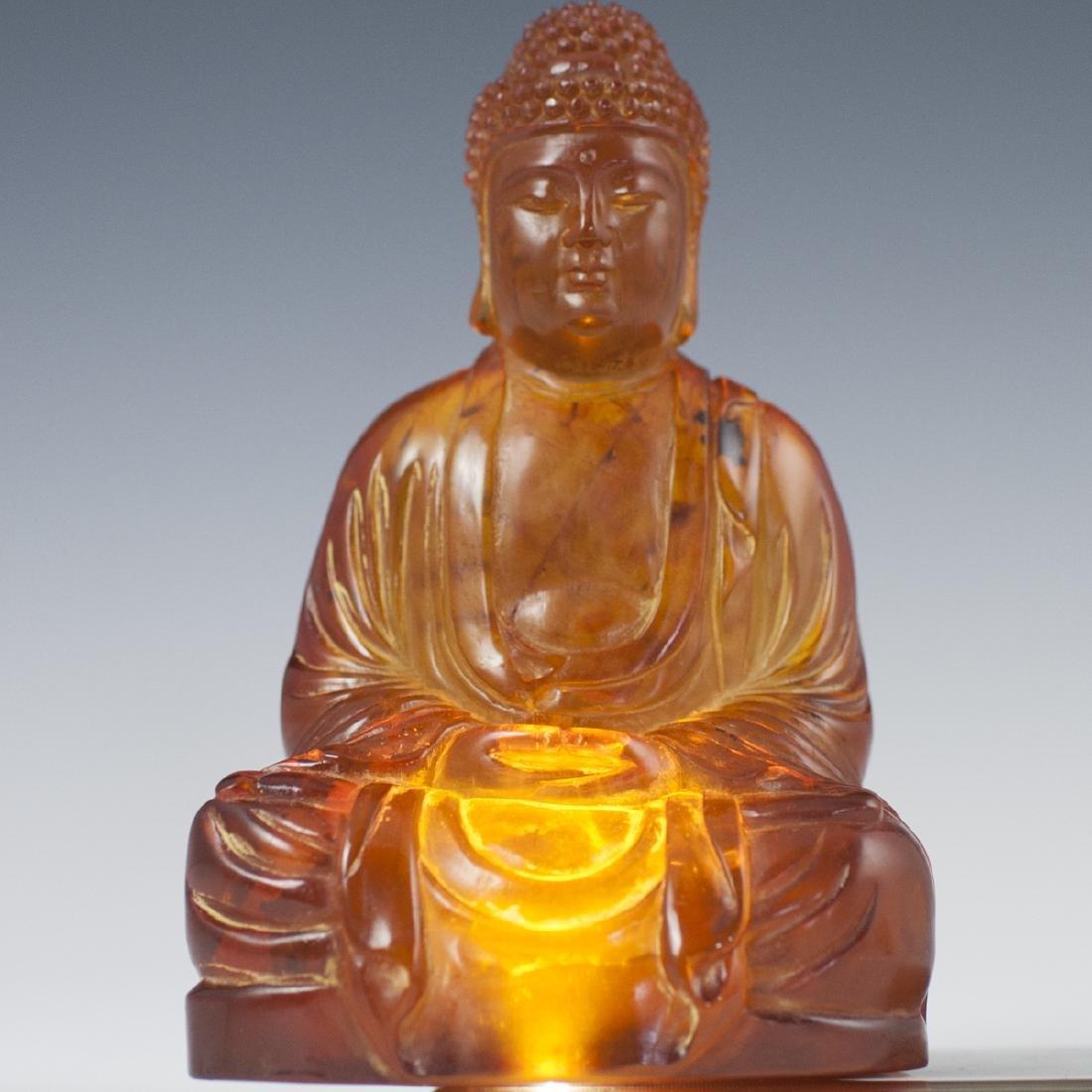 Chinese Carved Amber Buddha