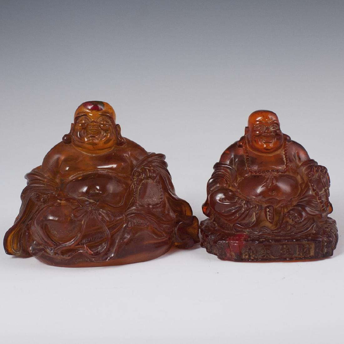 Carved Chinese Amber Laughing Buddhas