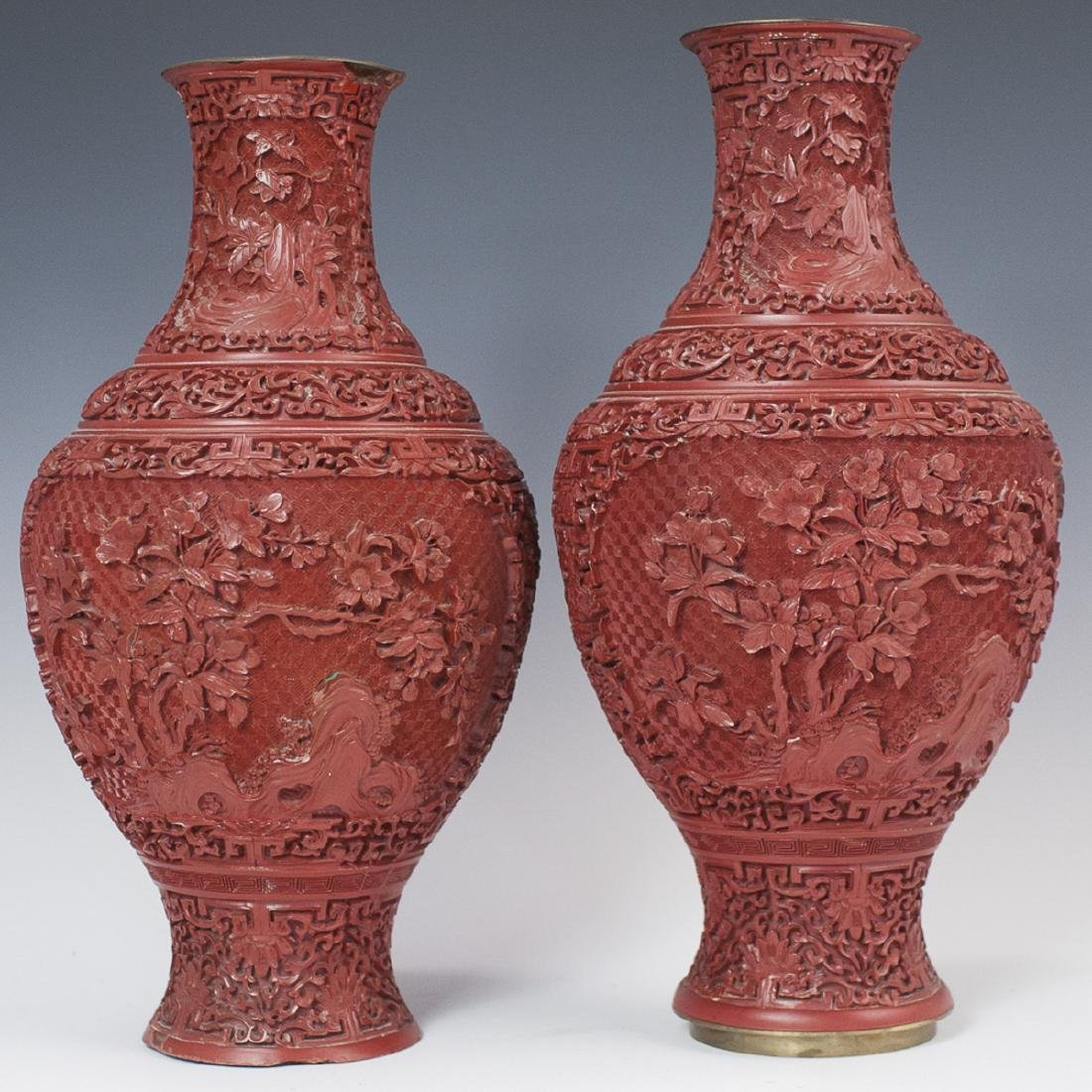Carved Chinese Cinnabar Vases