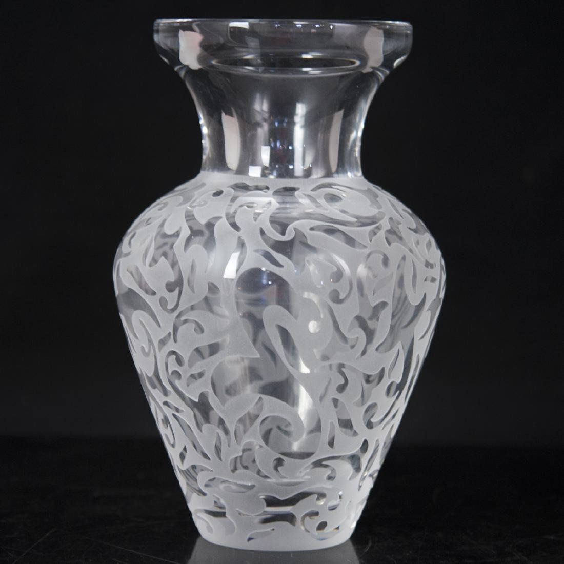 Michael Weems Etched Crystal Vase