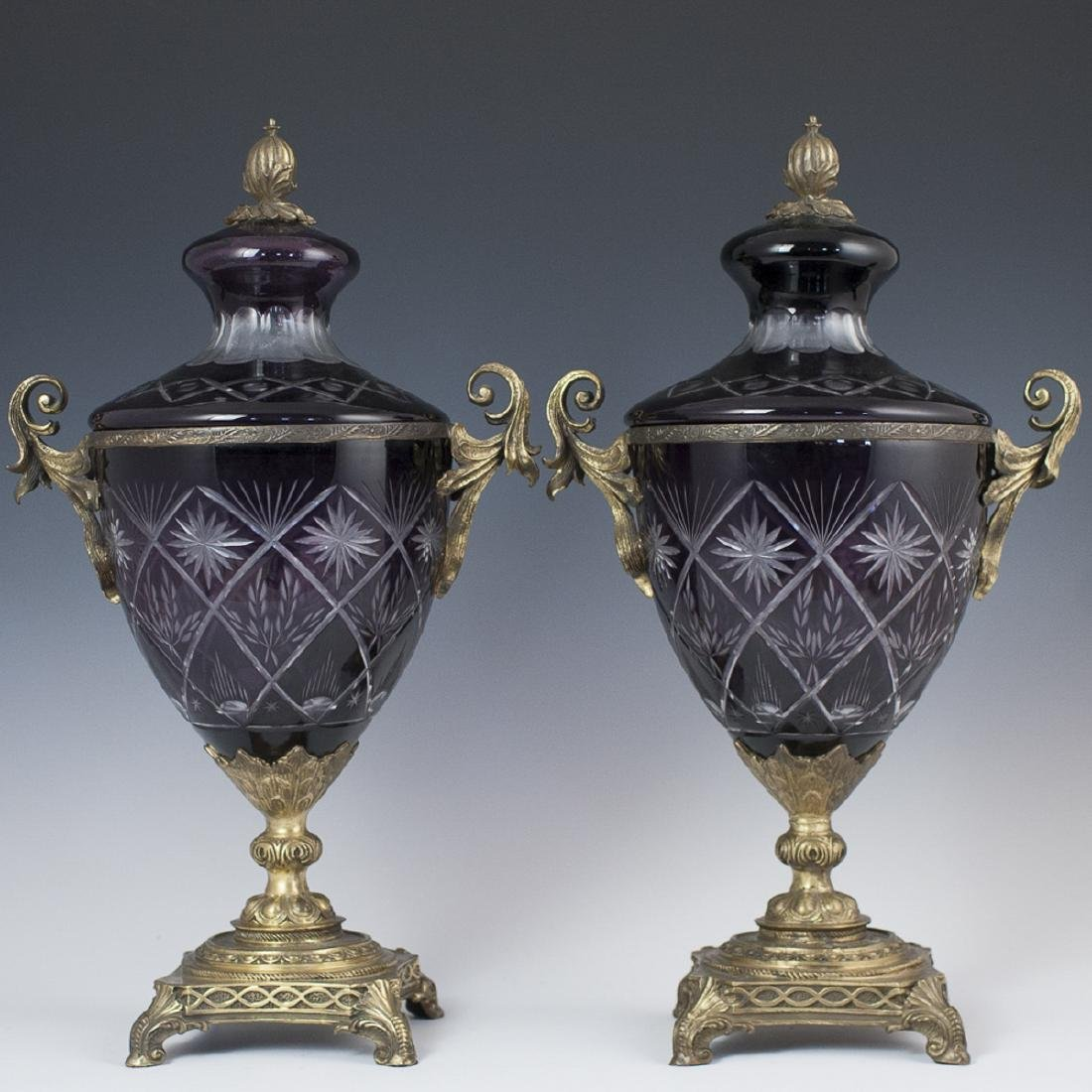 Bohemian Cut to Clear Mounted Bronze Crystal Urns