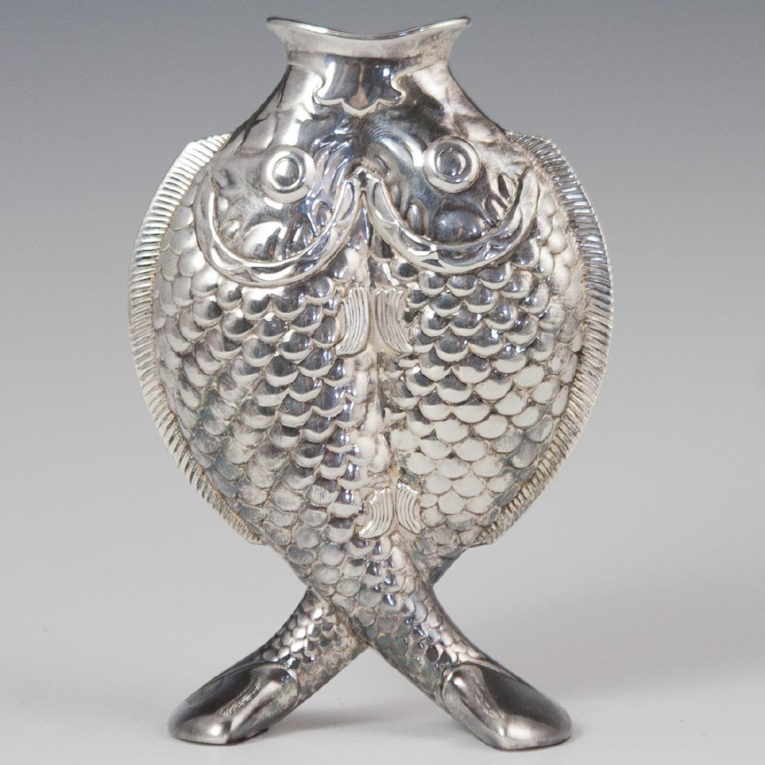 "Christofle ""Deux Poissons"" Silver Plated Vase"
