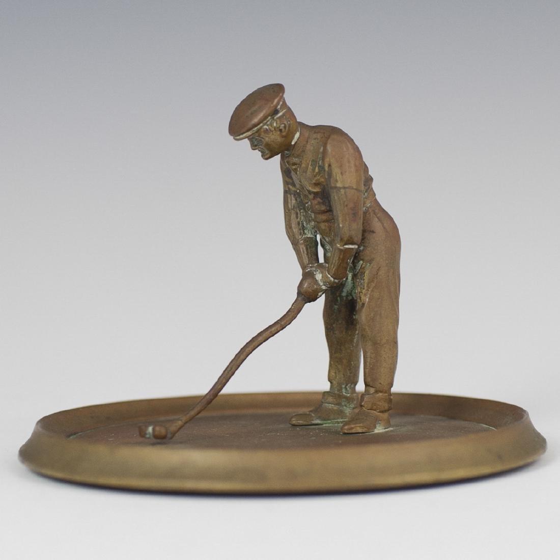 Antique Bronze Golfer Figurine