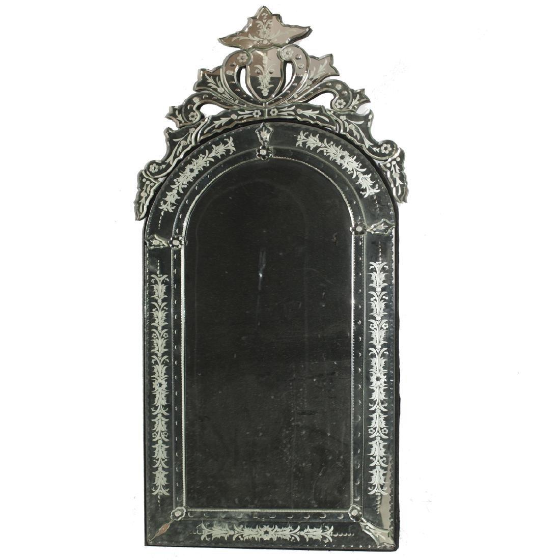 Vintage Venetian Etched Glass Mirror