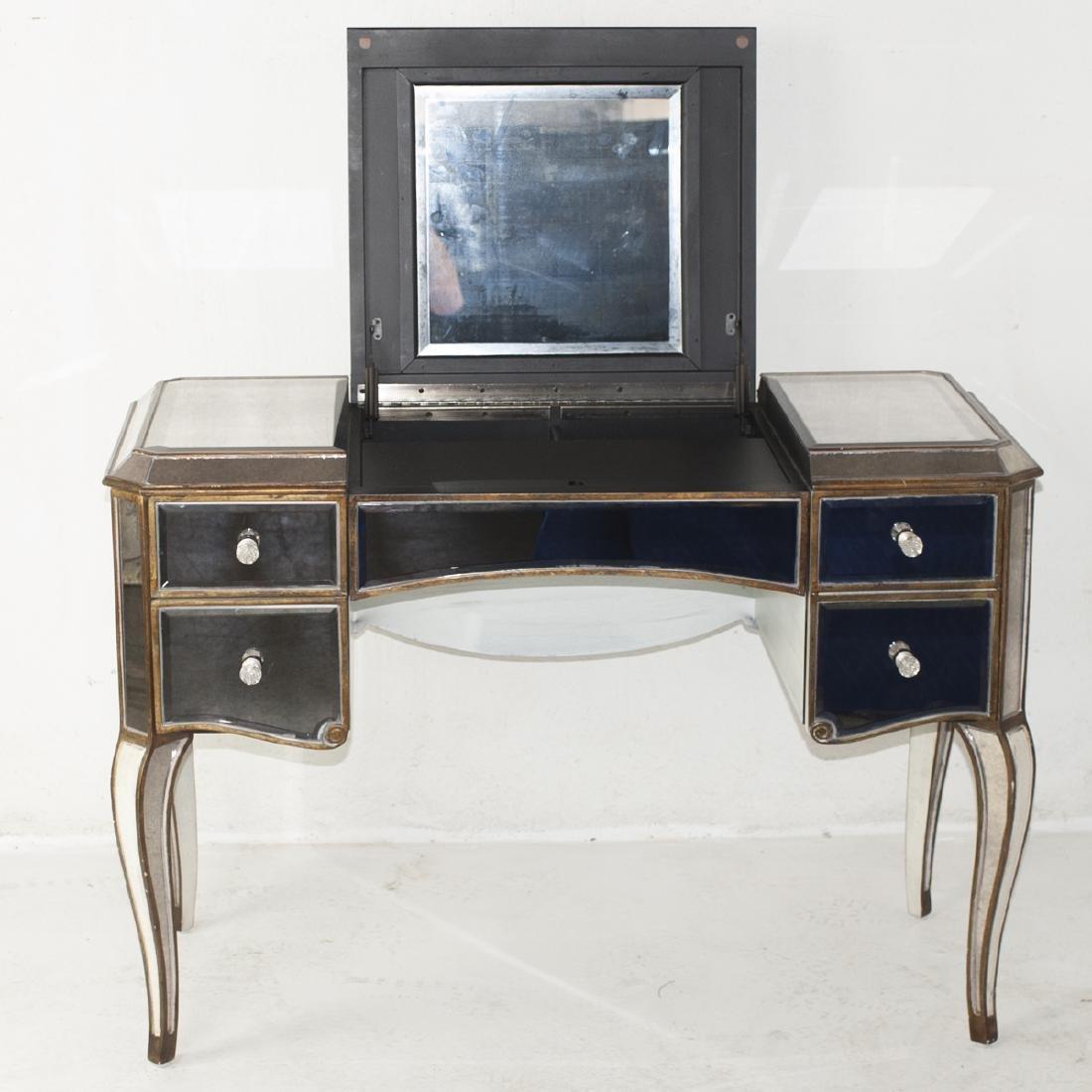 Vintage Wood & Mirror Vanity Desk