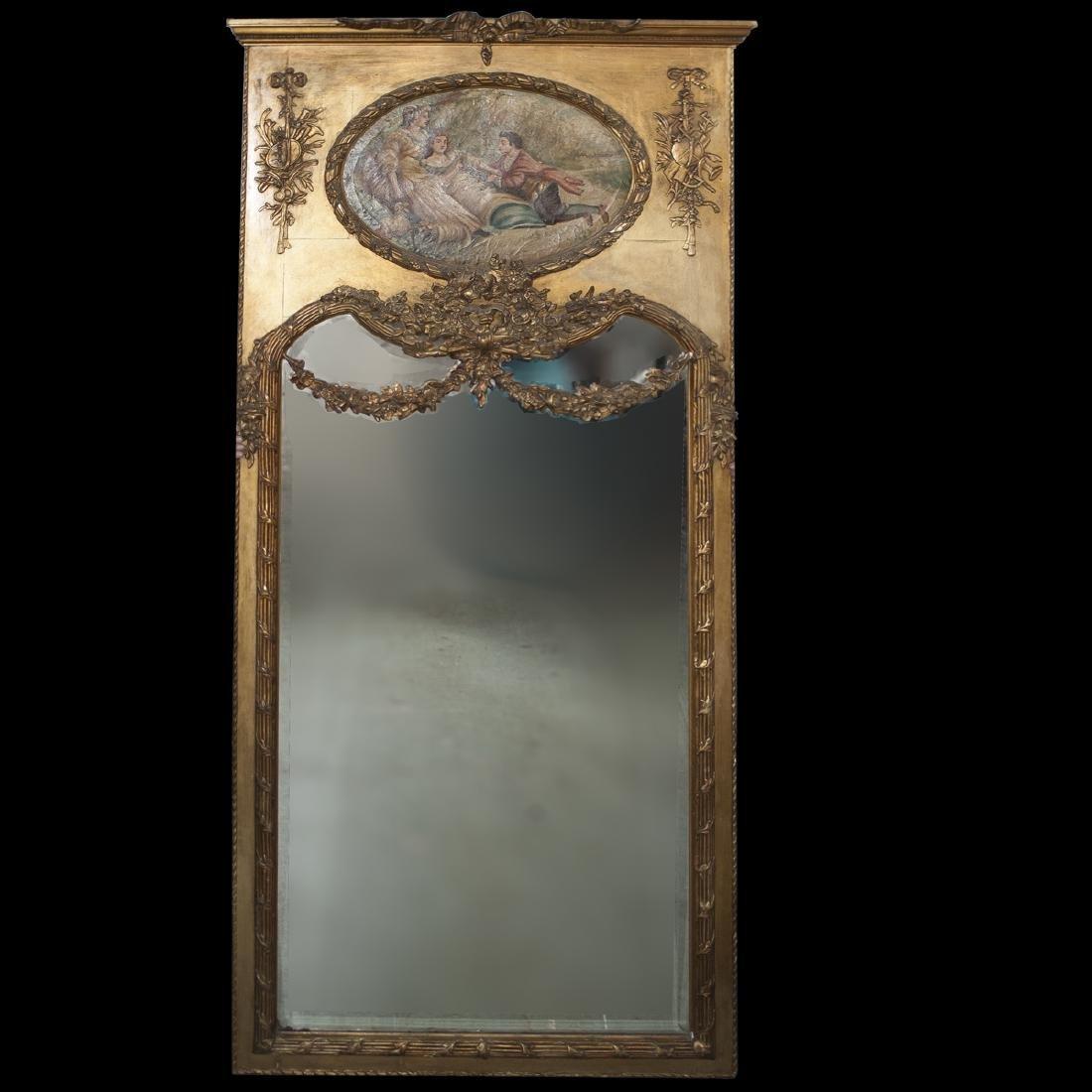 Palace Gilt Wood & Composite Trumeau Mirror
