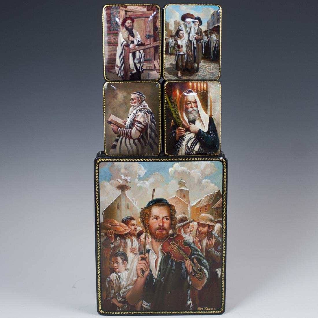 Russian Lacquered Judaic Papier Mache Boxes