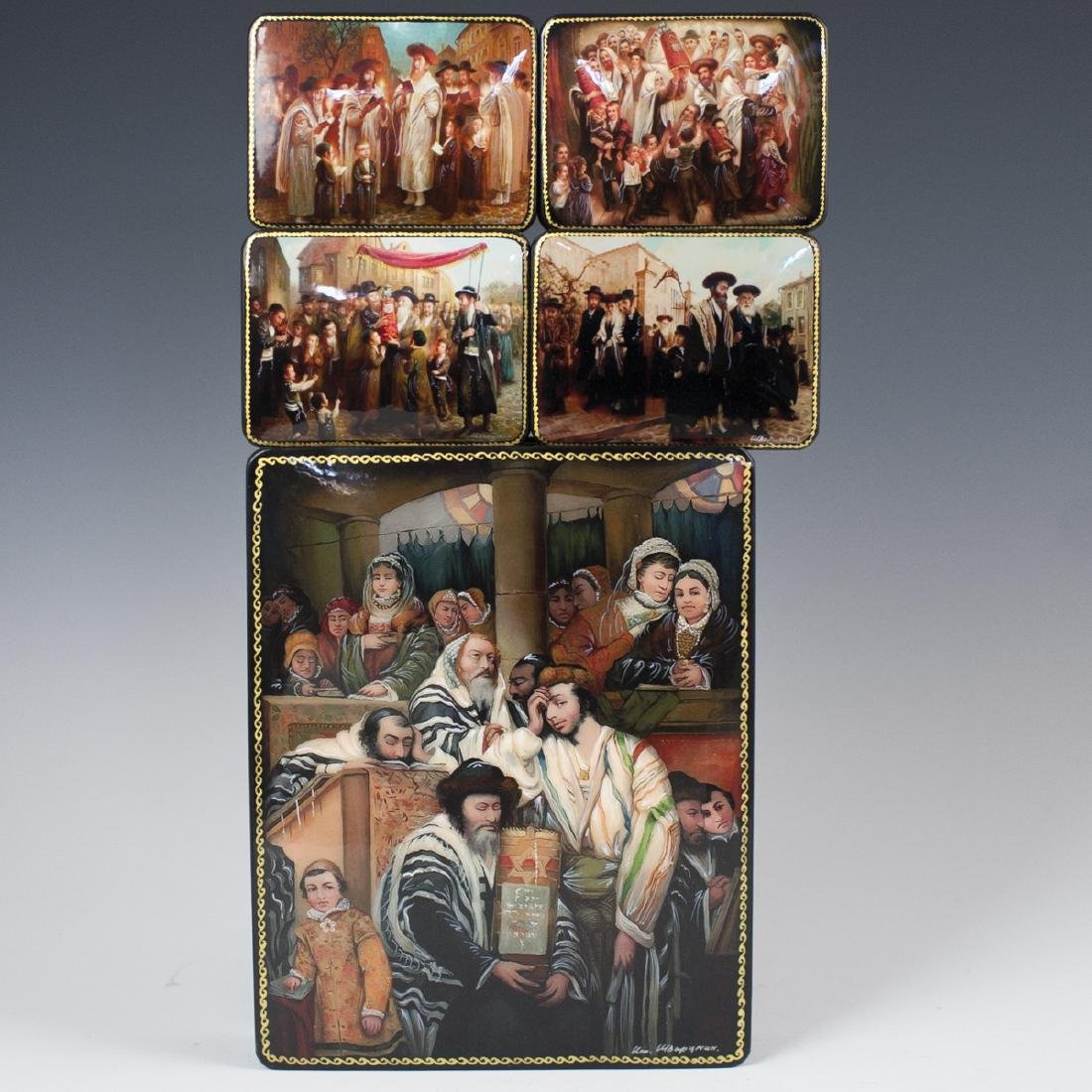 Russian Lacquered Papier Mache Judaic Boxes