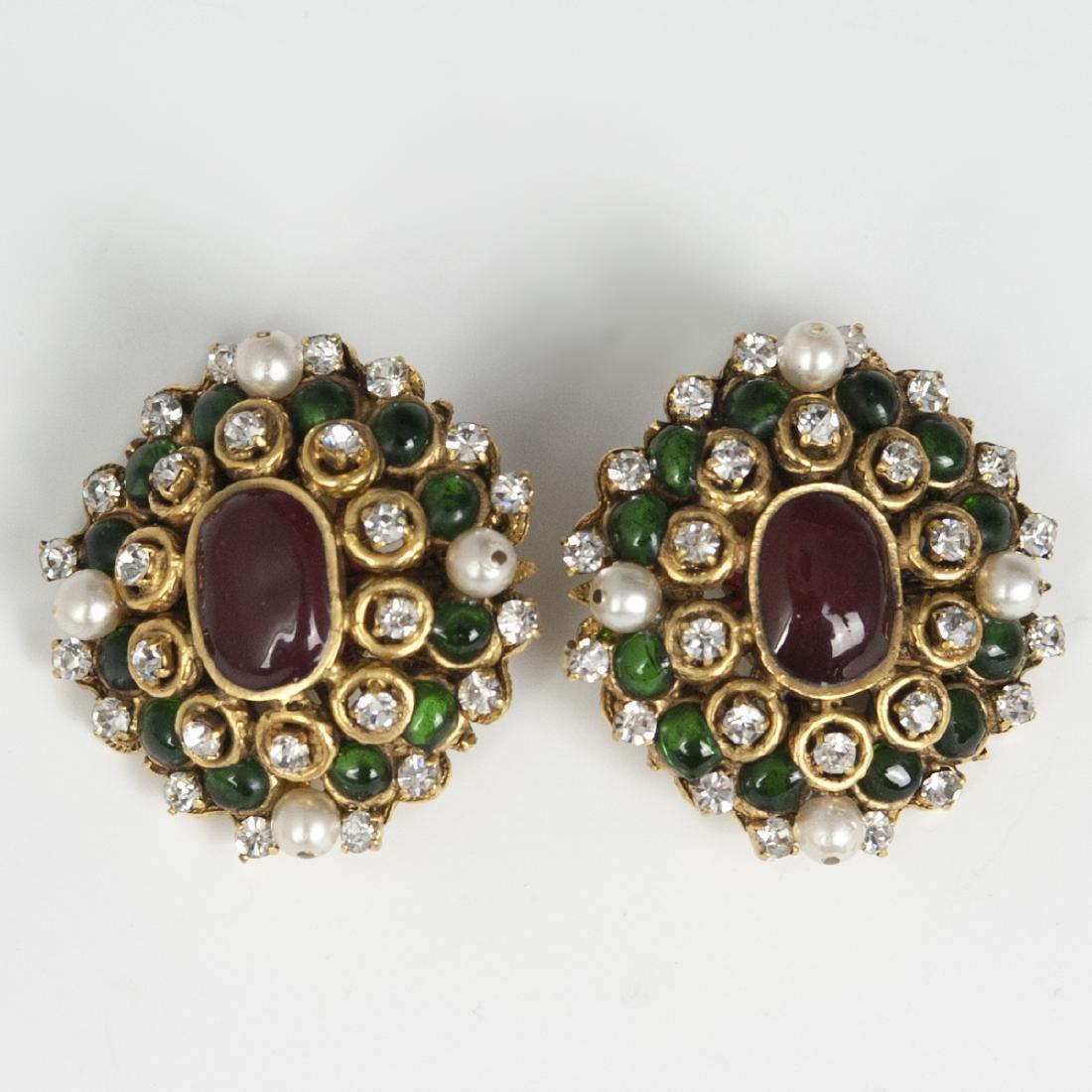 Chanel Gripoix Clip Earrings