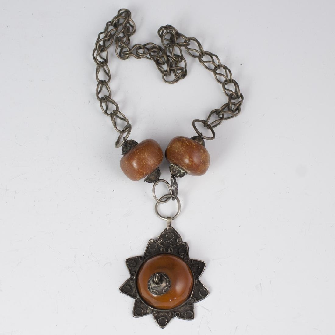 Moroccan Silver Amber Necklace