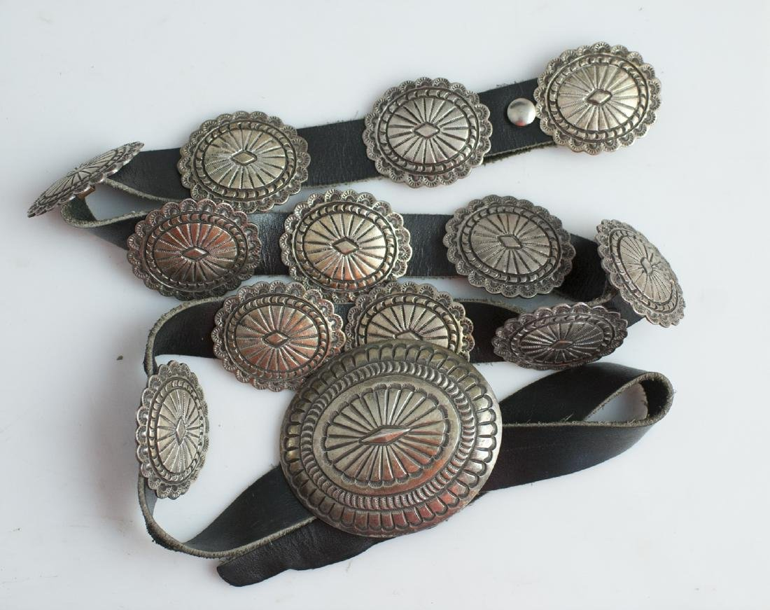 Navajo Style Sterling Leather Belt