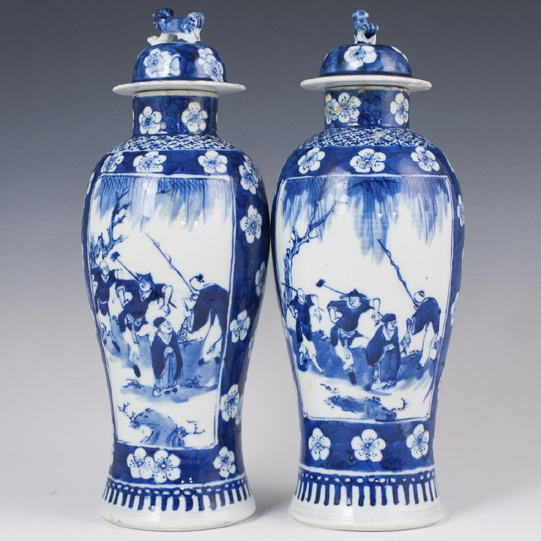 Chinese Kangxi Stamped Blue & White Porcelain Urns