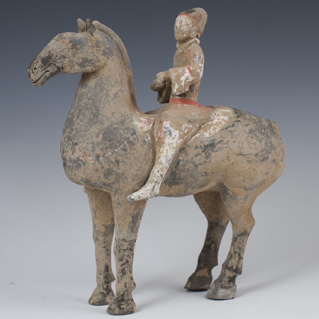 Chinese Han Dynasty Terracotta Horse & Rider