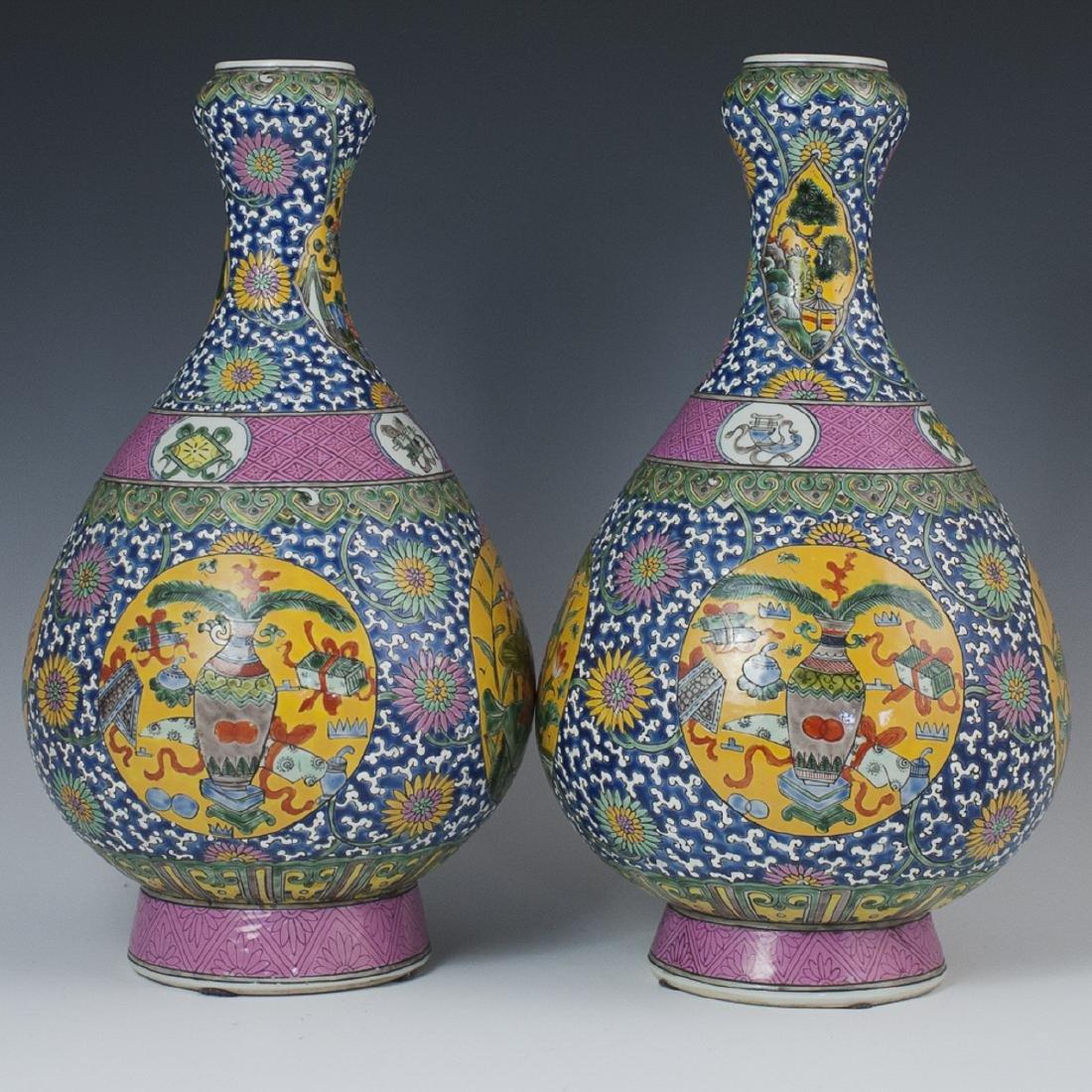 Chinese Enameled Porcelain Yuhuchunping Vases