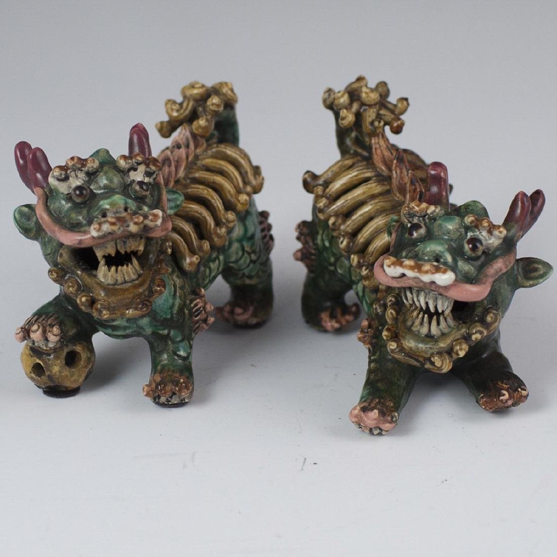 Antique Chinese Wucai Glazed Foo Dogs