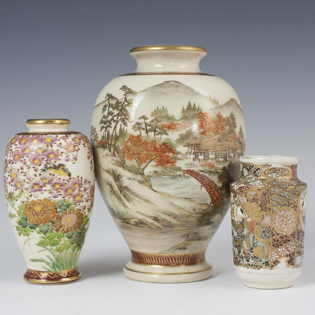 Antique Japanese Satsuma Porcelain Vases