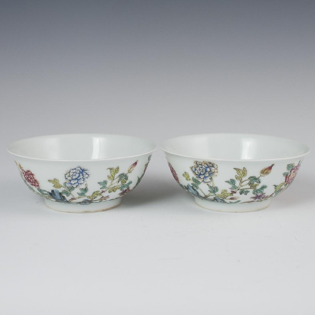 Chinese Enameled Porcelain Rice Bowls