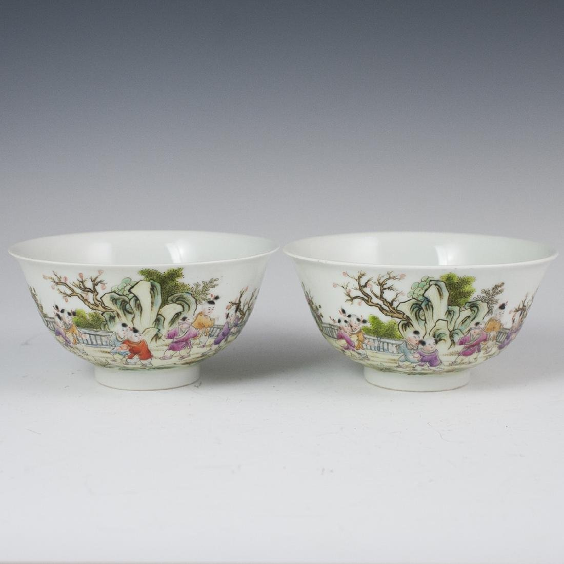 Chinese Enameled Porcelain Rice Bowls