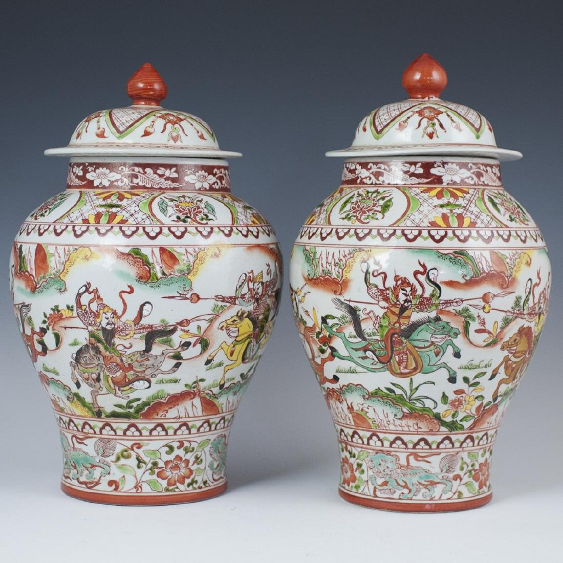 Antique Chinese Wucai Enameled Urns