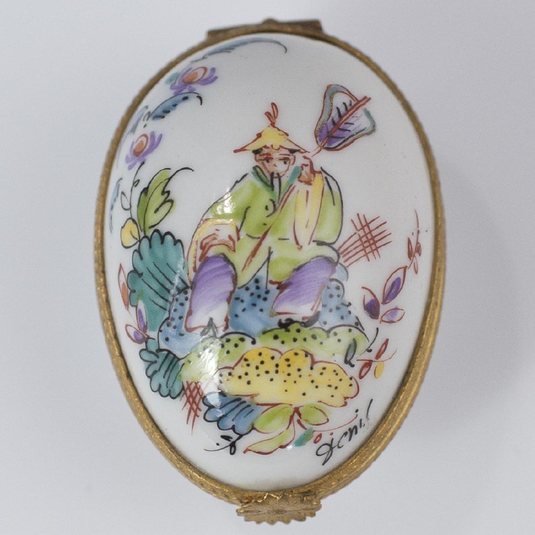 Limoges Porcelain Egg Pill Box