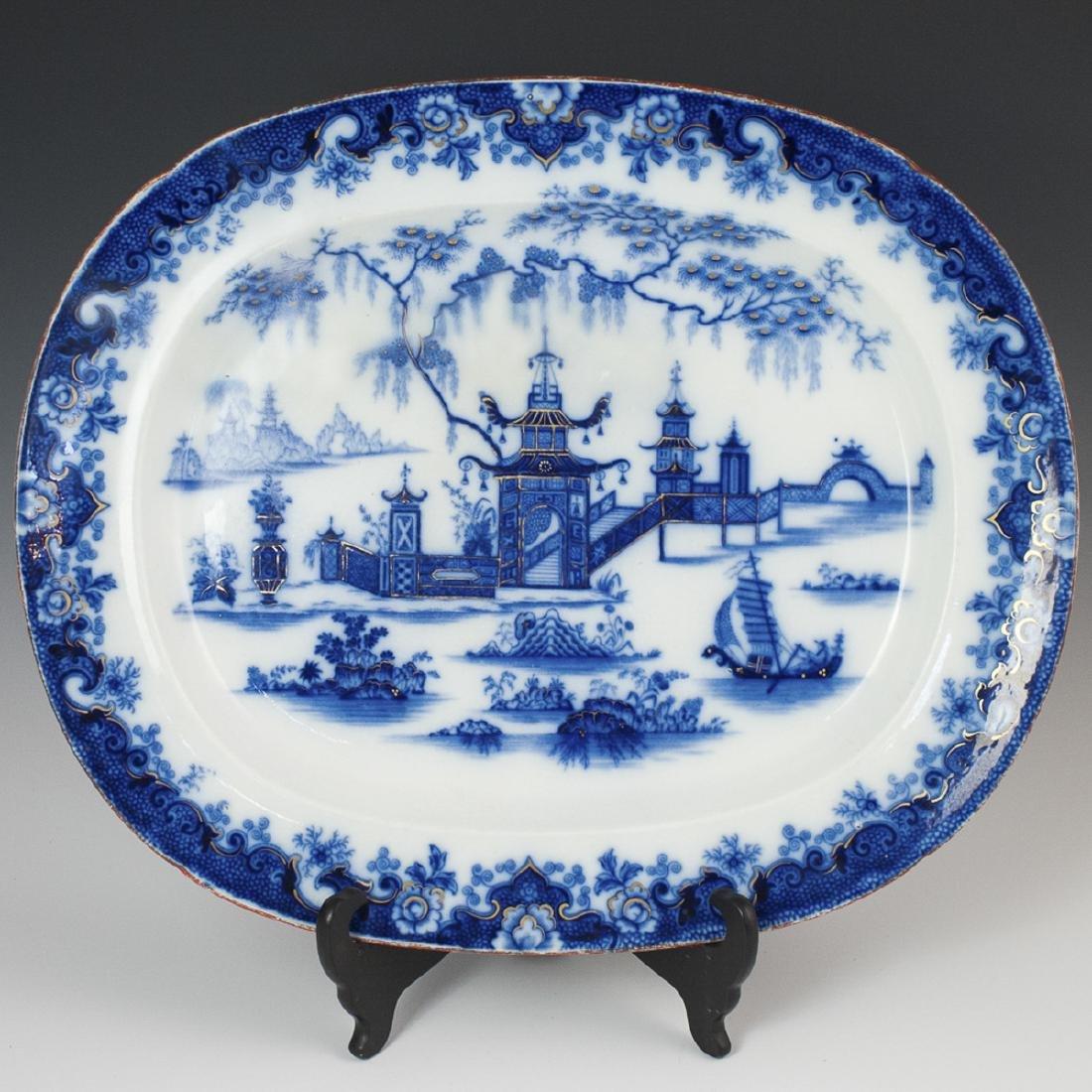 "Antique W.H. & Co. ""Whampoa"" Flow Blue Tray"