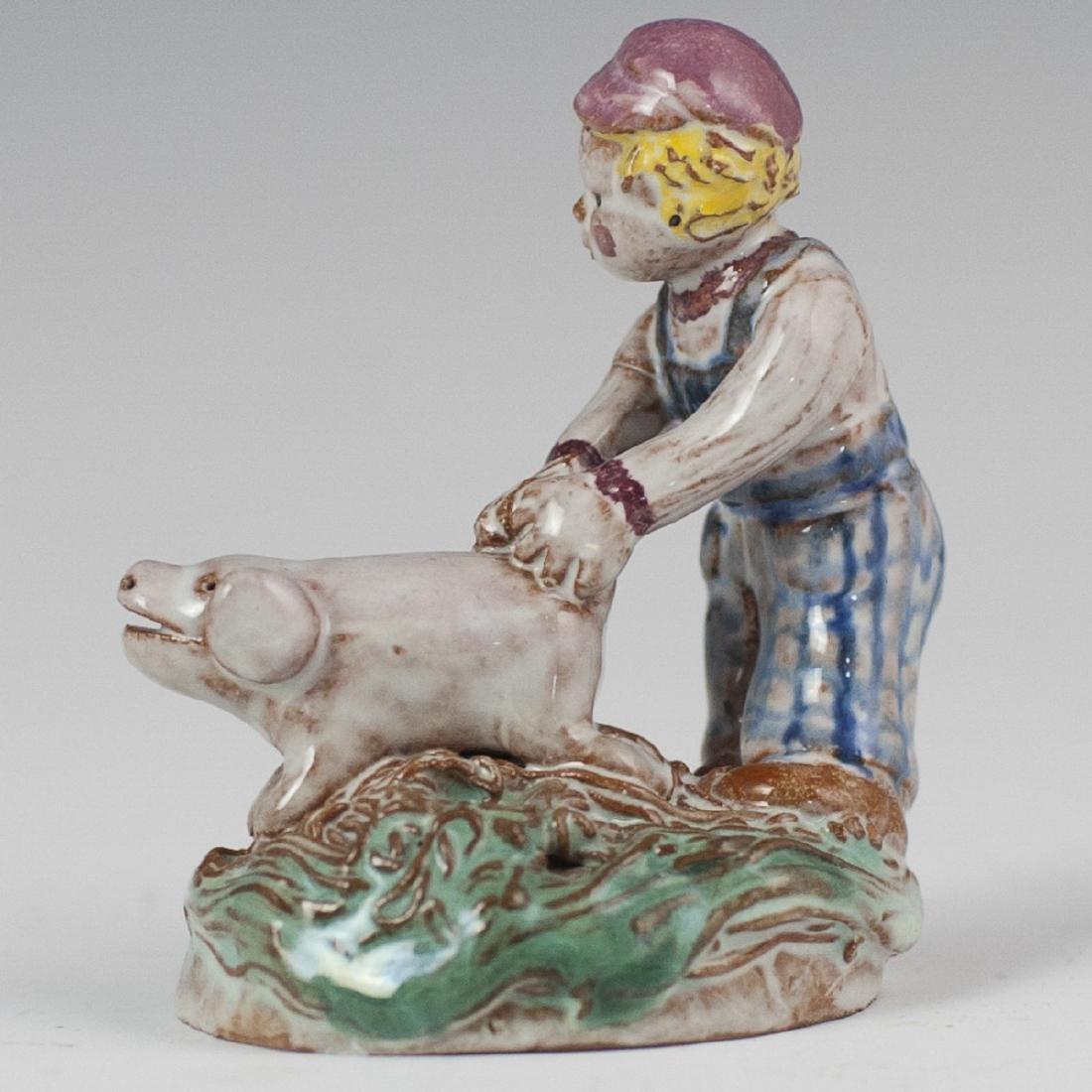 Vintage Glazed Pottery Figurine