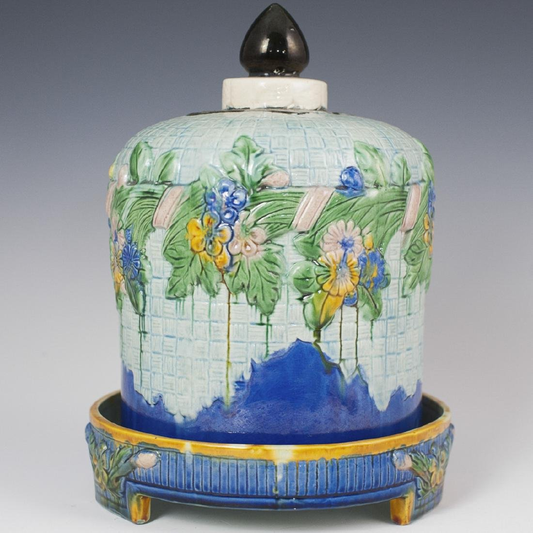 Antique Majolica Lidded Cheese Dome