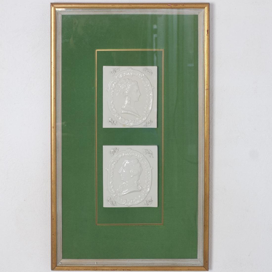 Framed Antique Ceramic Tiles