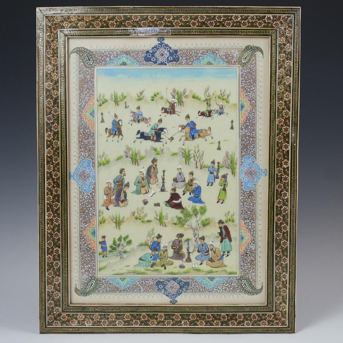 Large Persian Painting on Bone
