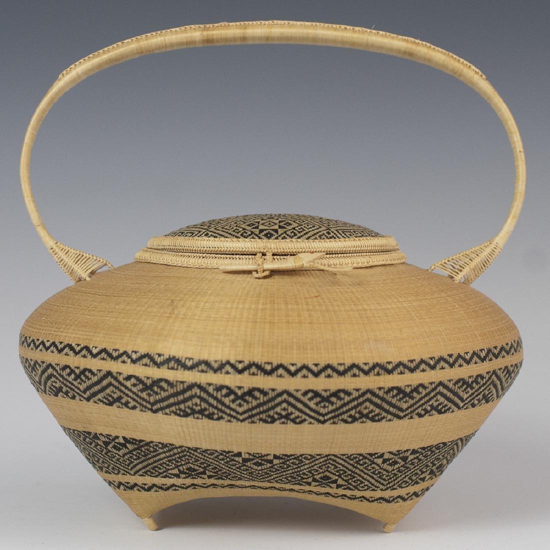 Antique Japanese Woven Lidded Bamboo Basket