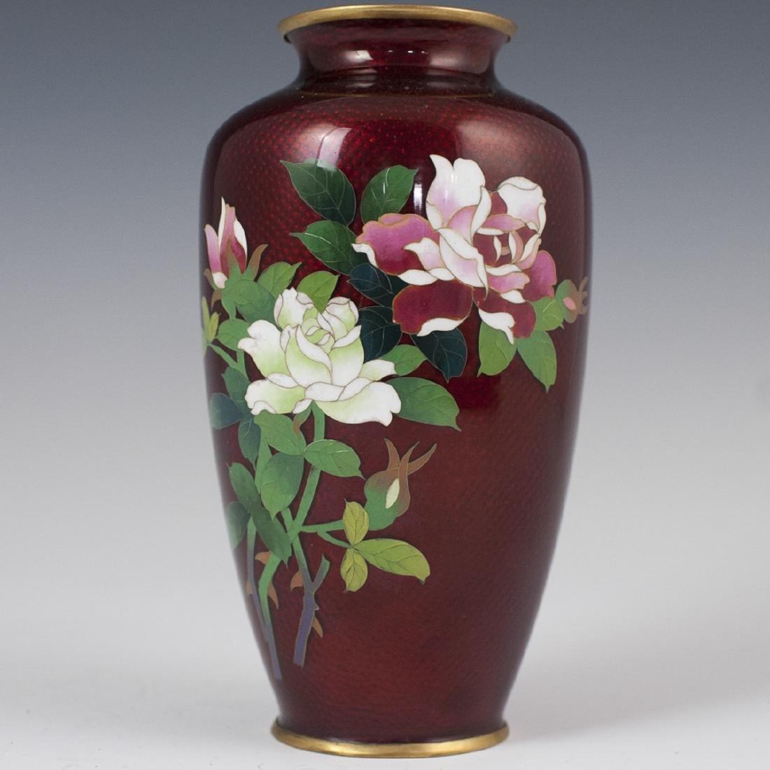 Japanese Pigeon Blood Cloisonne Enameled Vase