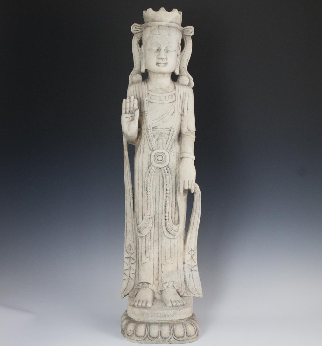 Thai Carved White Stone Guanyin