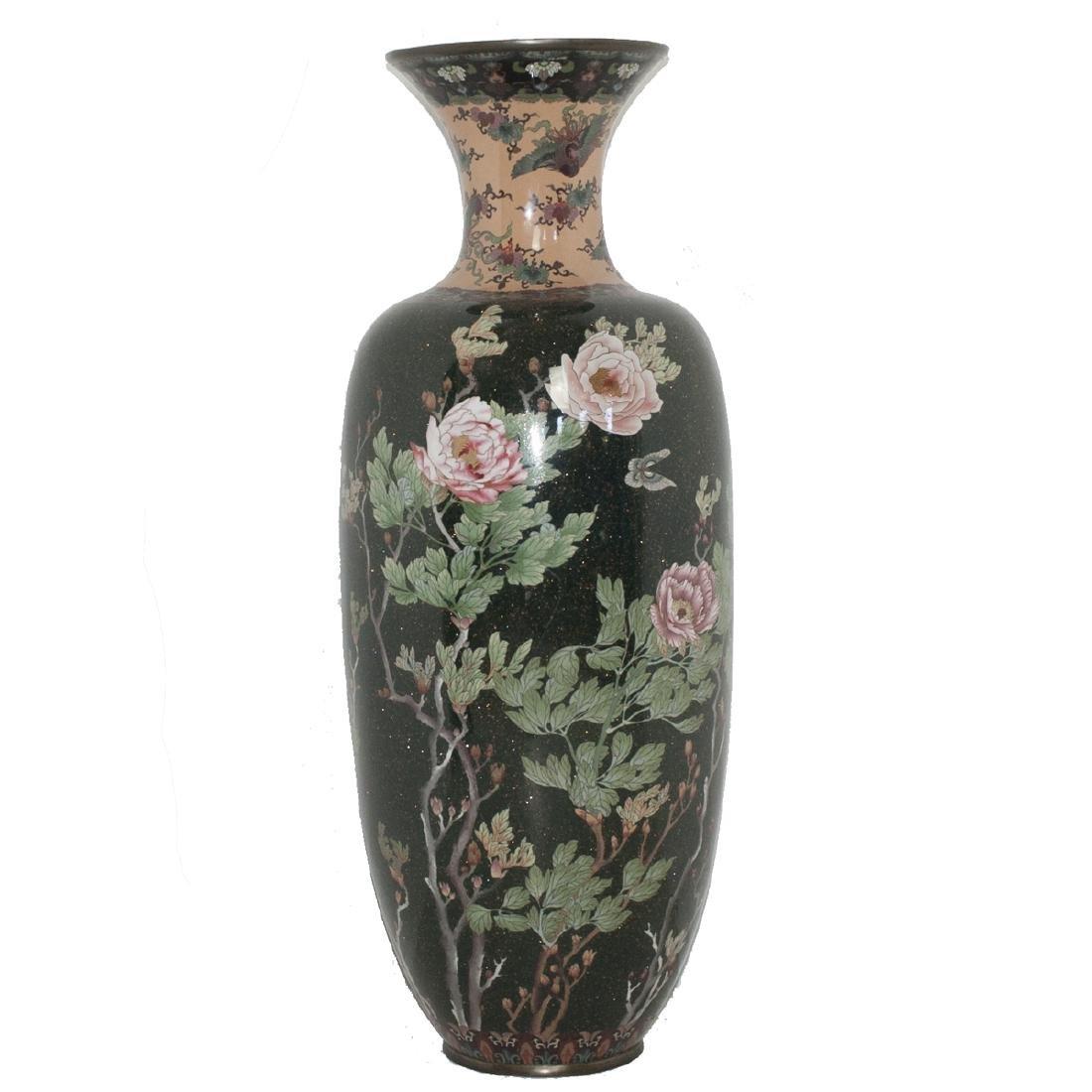 Large Japanese Meiji Cloisonne Aventurine Enameled Vase