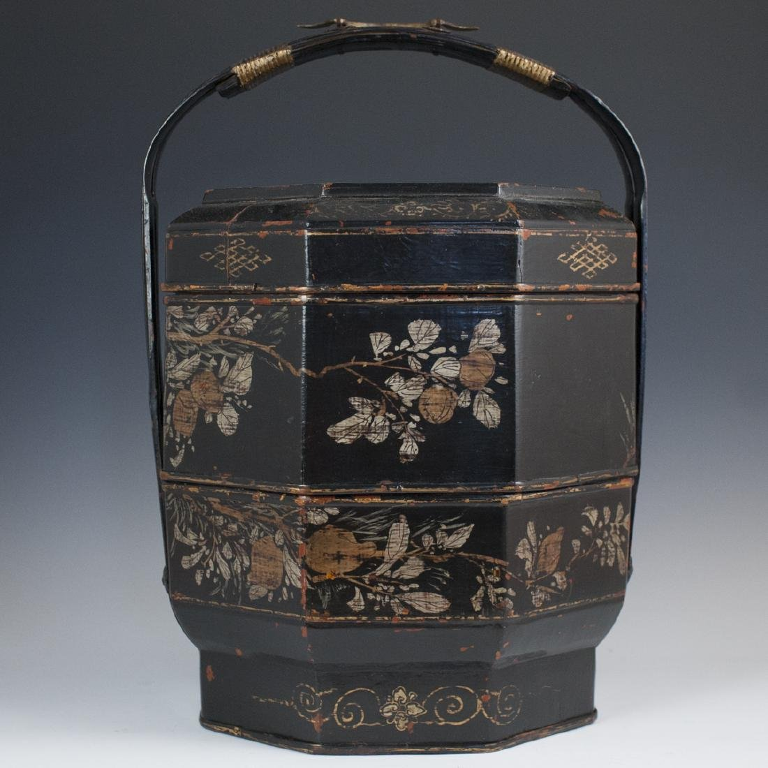 Antique Chinese Lacquered Papier Mache Wedding Basket