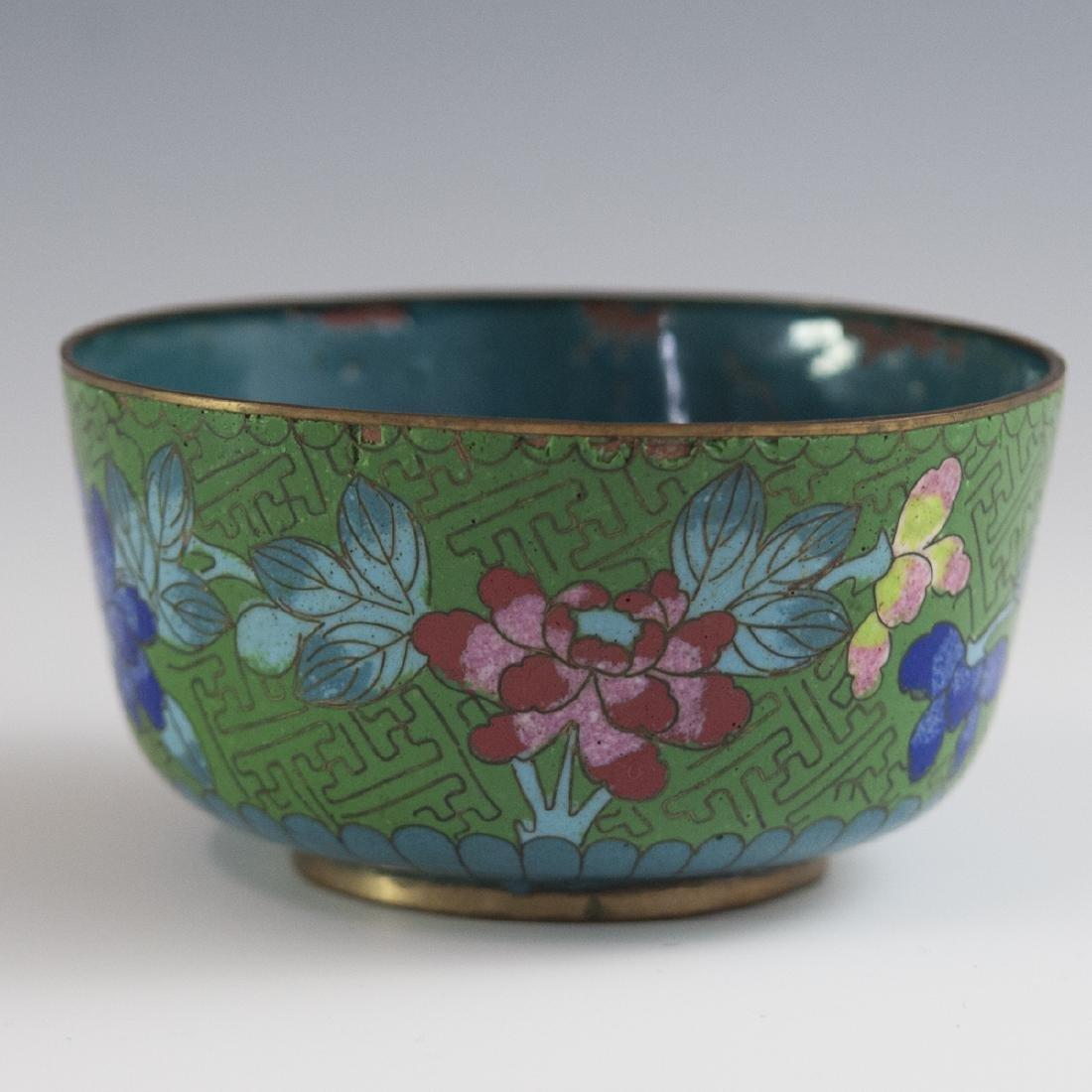 Antique Chinese Enameled Cloisonne Rice Bowl